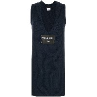Chanel Vintage logo knitted fitted dress - ブルー