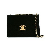 Chanel Vintage Jumbo xl double chain bag - ブラック