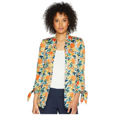 タハリ レディース コート アウター Printed Satin Tie Sleeve Jacket Orange/Blue/Ivory