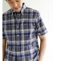 DOORS GYMPHLEX MADRAS CHECK SHORT-SLEEVE SHIRTS【アーバンリサーチ/URBAN RESEARCH メンズ シャツ・ブラウス GREY×BLUE ルミネ...