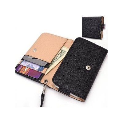 Black Wristlet Wallet with Detachable Strap, Coin Zipper Pocket and Credit Card Holder [Metro Seri