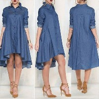 Women Loose Long Sleeve Plus Size Cocktail Evening Party Mini Jean Dresses