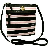 Tommy Hilfiger(トミーヒルフィガー) ボーダークロスボディバッグ(Black/Pink)/ポシェット