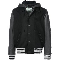 Off-White hooded varsity jacket - ブラック