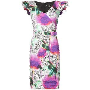 Nicole Miller fitted floral printed dress - ピンク&パープル