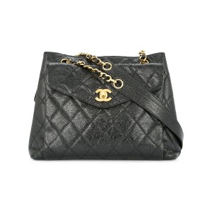 Chanel Vintage quilted turn-lock tote bag - ブラック