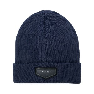 Givenchy logo plaque beanie hat - ブルー