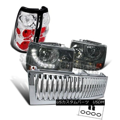 ヘッドライト 1999-2002 Silverado 1500 Smoke SMD DRL LED Headlights+Chrome Tail Lamps+Grille 1999-2002...