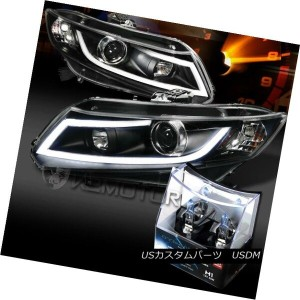 ヘッドライト For 12-15 Civic Black LED Light Bar Projector Headlights+H1 Halogen Bulbs 12-15シビックブラックLEDライト...