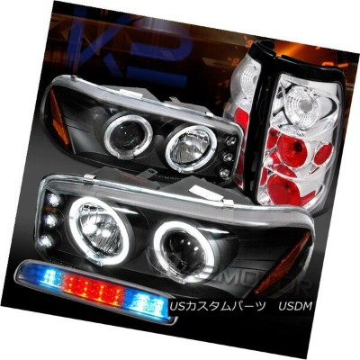 ヘッドライト 99-03 GMC Sierra Black Projector Headlights+Chrome Tail LED 3rd Brake Lamps 99-03 GMC Sierra...