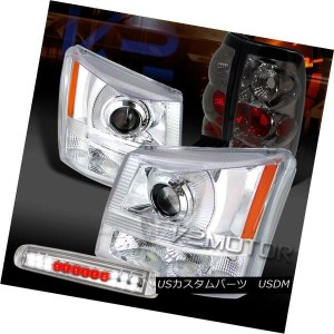 ヘッドライト 03-06 Silverado Chrome Projector Headlights+LED 3rd Brake+Smoke Tail Lamps 03-06 Silverado...