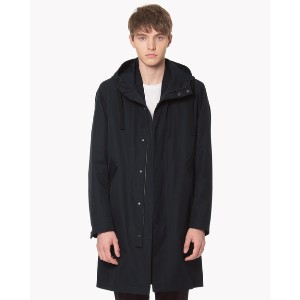【Theory】The Trench Jerome Long Parka 比翼仕様のフード付きロングコート。 ブルー 大人 セオリー