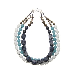 【Theory】Kong qi Color Stone Necklace 一連ずつ異なるストーンをデザインした三連のネックレス。 その他 大人 セオリー