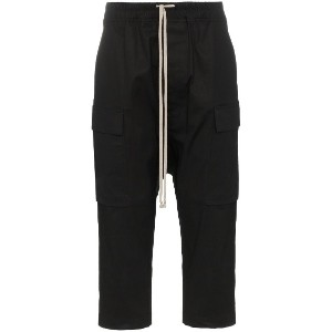Rick Owens drawstring cropped cotton blend cargo trousers - ブラック
