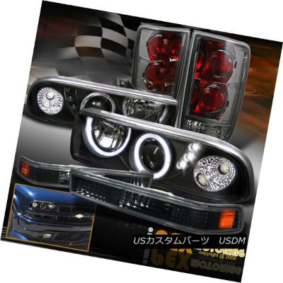 ヘッドライト Dual Halo Projector LED Headlight + Soft-Smoke Tail Light + Signals Chevy Blazer デュアルヘイロープロジェ...
