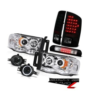ヘッドライト 2X Angel Eye Headlight Sinister Black LED Tail Light Fog High Brake 02-05 Ram V8 2Xエンジェルアイヘッド...
