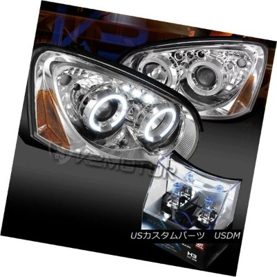 ヘッドライト For 04-05 Subaru Impreza WRX Halo LED Projector Headlights+H3 Halogen Bulbs 04-05スバルインプレッサWRX...