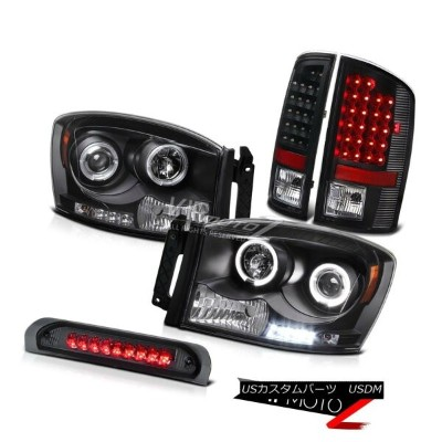 ヘッドライト Black L+R Halo Projector Headlight+LED Tail Lamp+Third Brake 2007-2008 Dodge RAM ブラックL +...