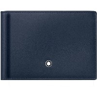 メンズ MONTBLANC Wallet 6cc with Money Clip Small 財布  ダークブルー
