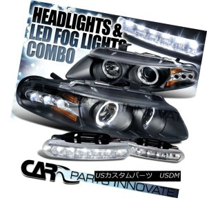 ヘッドライト 97-00 Avenger Sebring Coupe Black Halo LED Projector Headlights+LED Fog DRL Lamp 97...