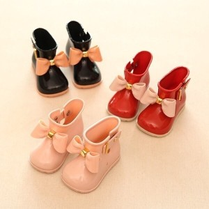 Mini Melissa Mini Sed Bow Girls Rain Boots for Baby Todder Little Adorable Girls Fashion Boots Non S