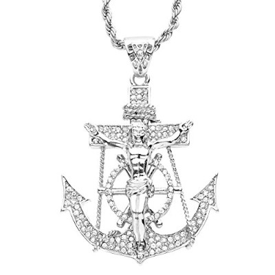 Iced Out Bling Hip Hop Chain - JESUS ANCHOR シルバー