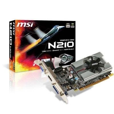 MSI n210-md1g / d3 GeForce 210 1 GB 64ビットddr3 PCI Express 2.0 x16 HDCP Ready LowプロファイルReadyビデオカード