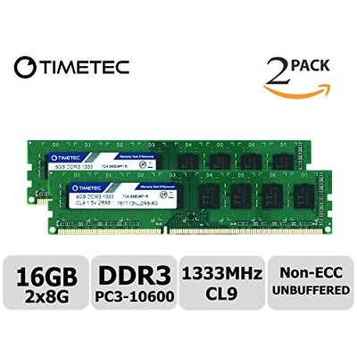 Timetec Hynix IC 16 GB キット (2x8GB) DDR3 1333 MHz PC3 10600 Unbuffered Non-ECC 1.5 v CL9 2Rx8 デュアル...