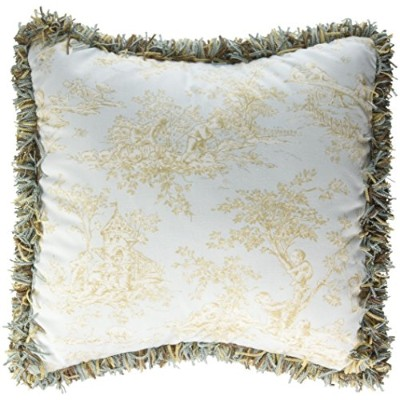 Glenna Jean Central Park Pillow Toile with Fringe, Blue/Chocolate/Tan/White by Glenna Jean