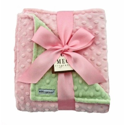 MEG Original Baby Girl Pink & Green Minky Dot Blanket by MEG Original