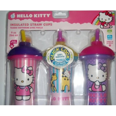 Munchkin Hello Kitty Click Lock Insulated Straw Cups BPA Free 9oz 266ml - 3pk by Hello Kitty