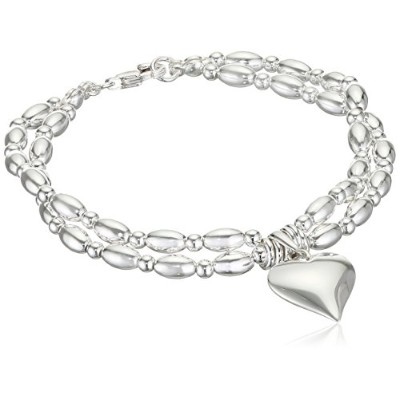 ブレスレットElements Sterling Silver Ladies' B3698 Heart with Jump Ring Bracelet Length 19cm[平行輸入品]