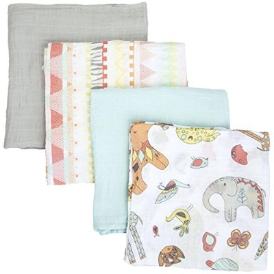 Weegoamigo Four Pack Muslin Swaddle - Animal Party by Weegoamigo