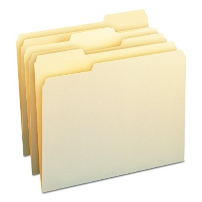 File Folders, 1/3 Cut Assorted, One-Ply Top Tab, Letter, Manila, 100/Box (並行輸入品)