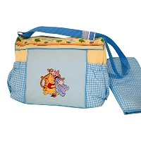 Disney Pooh Blue Gingham and Yellow Large Diaper Bag by Disney