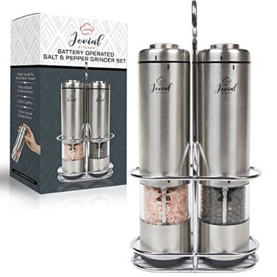 JovialキッチンバッテリーOperated Salt and Pepper Grinderセット–ElectricステンレススチールSalt & Pepper Mills–...