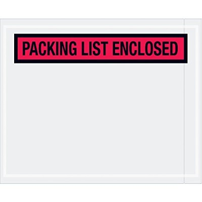 Aviditi PL453 Panel Face Envelope, Packing List Enclosed, 4-1/2 Length x 5-1/2 Width, Red (Case of...
