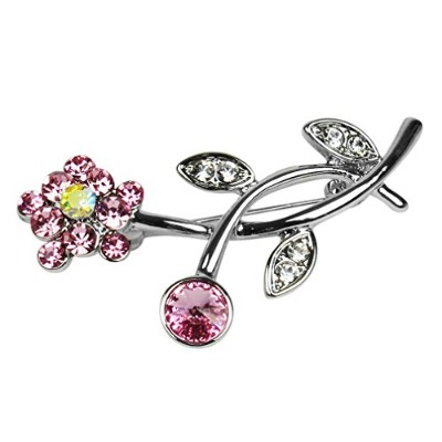 Hampton Direct Sparkly Pink Flower with Leaves, Stems Brooch Pin Jewellery