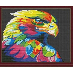 Colorful Eagle counted cross stitch kits 14 ct, 鷹と色、クロスステッチキット156*130 ポイント、38*33cm クロスステッチ