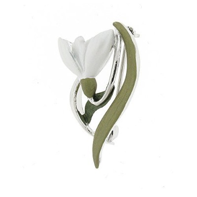 Brooches StoreシルバーメッキエナメルSnowdrop Flower withリーフブローチ