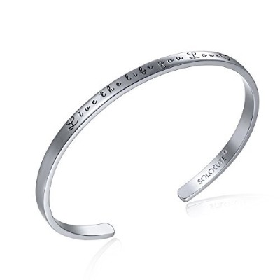 "(white) - SOLOCUTE Cuff Bangle Bracelet Engraved""Live The Life You Love"" Inspirational Jewellery,..."