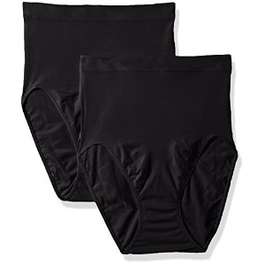 Maidenform 12586 Everyday Value Hi Cut Brief 2 - Pack Size Medium, Black