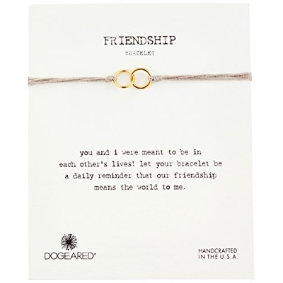 """Dogeared """"Friendship(友情)"""" ダブル リンク トゥーペ シルク 調節可能 クロージャー ブレスレット One Size"""