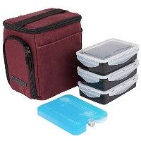 edc Meal Prepバッグby Evolutionize–フル食事管理システムIncludes部分制御Meal Prepコンテナ+ Ice Pack MINI - 3 Meal