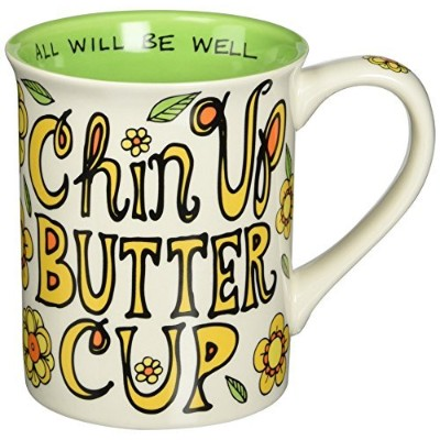 Enesco 4.5-Inch Our Name is Mud Mug by Lorrie Veasey, 16-Ounce, Chin Up Buttercup by Enesco