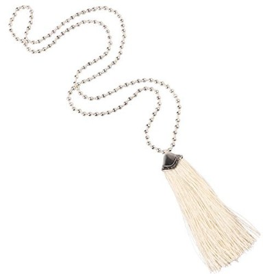 (White) - KELITCH Silver Plated Round Beaded Necklaces Handmade Colour Tassel Long Pendants...