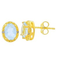 2 Ct Simulated Aquamarine & Diamond Oval Stud Earrings 14Kt Yellow Gold Plated Over Sterling Silver