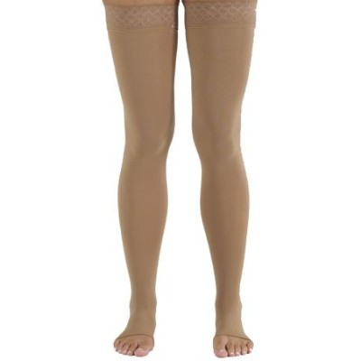 Medi comfort Compression Thigh High Petite w/sil band 20-30mmHg Open Toe, II, Sandstone by Mediven