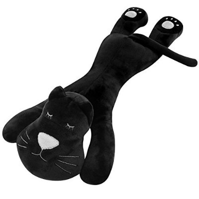(Black Lying Cat(with Squeaker)) - Pawaboo Bed Time Squeak Plush Toy Animal Toys, Soft Fuzzy Lying...