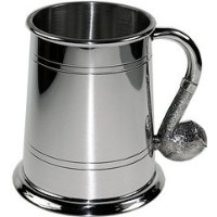 Great Gifts UK- Pipe Handle Pewter Tankard - H:115mm Base dia: 115mm